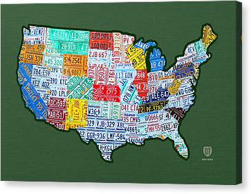 Car Tag Number Plate Art Usa On Green Canvas Print by Design Turnpike