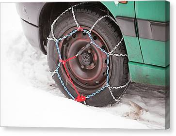 Car With Snow Chains Canvas Print by Ashley Cooper