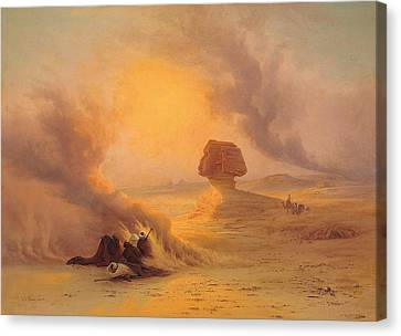 Ancient Egyptian Canvas Print - Caravan Caught In The Sinum Wind Near Gizah by Johann Jakob Frey