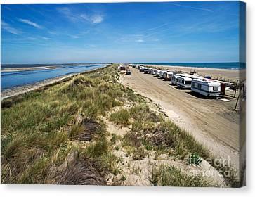 Caravans Aligned On Beach Canvas Print by Sami Sarkis