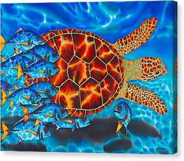 Carbbean Sea Turtle Canvas Print by Daniel Jean-Baptiste