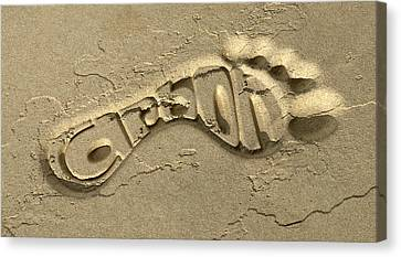 Carbon Footprint In The Sand Canvas Print by Allan Swart