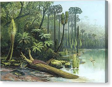 Carboniferous Landscape, Artwork Canvas Print