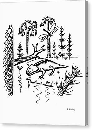 Meganeura Canvas Print - Carboniferous by Richard Bizley