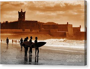 Carcavelos Surfers Canvas Print
