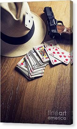 Gunman Canvas Print - Card Gambling by Carlos Caetano