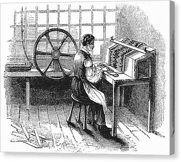 Loom Canvas Print - Card Punching Machine For Jacquard Looms by Universal History Archive/uig
