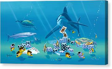 Card Shark Canvas Print by Kenneth F Aunchman