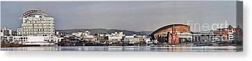 Cardiff Bay Panorama 2 Canvas Print by Steve Purnell