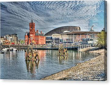 Cardiff Bay Textured Canvas Print by Steve Purnell