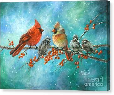 Cardinal Family Three Kids Canvas Print by Vickie Wade