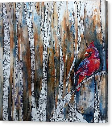 Cardinal In Birch Tree Forest Canvas Print by Christy  Freeman