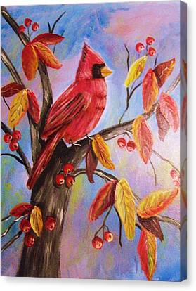 Cardinal In Fall Canvas Print by Belinda Lawson