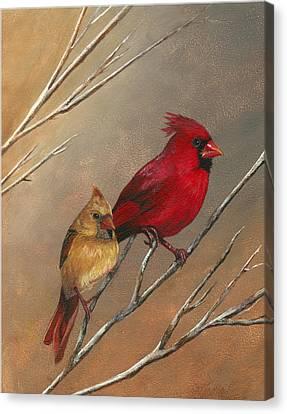 Cardinal Mates Canvas Print by Terri  Meyer