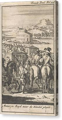 Cardinal Mazarin In A Carriage On The Way To Pheasant Island Canvas Print by Caspar Luyken And Boudewijn Van Der Aa