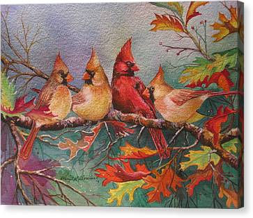Cardinal Musings Canvas Print by Cheryl Borchert