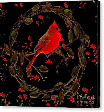 Cardinal On Metal Wreath Canvas Print by Janette Boyd