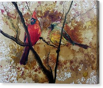 Canvas Print featuring the painting Cardinal Redbird Couple by Christy  Freeman