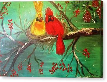Cardinals Winter Scene Canvas Print