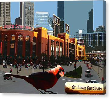 Canvas Print featuring the digital art Cardinal Town by John Freidenberg
