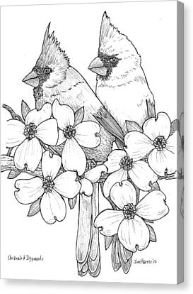 Cardinals And Dogwoods Canvas Print