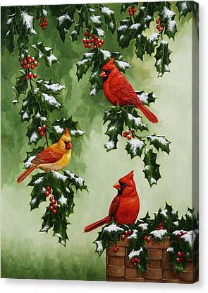 Cardinals And Holly - Version With Snow Canvas Print by Crista Forest