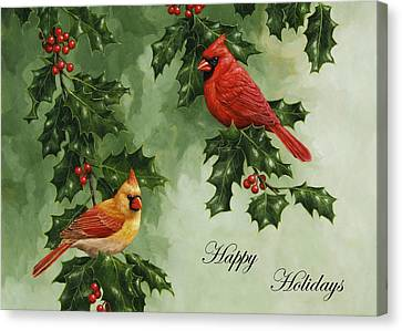 Cardinals Holiday Card - Version Without Snow Canvas Print by Crista Forest