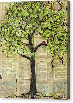 Cardinals In A Tree Canvas Print by Blenda Studio