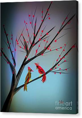 Cardinals In The Flowering Crab Canvas Print by Judy Via-Wolff