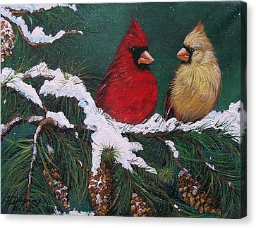 Cardinals In The Snow Canvas Print by Sharon Duguay