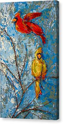 Cardinals On Twig Canvas Print by Kat Griffin