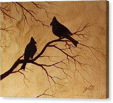 Canvas Print featuring the painting Cardinals Silhouettes Coffee Painting by Georgeta  Blanaru