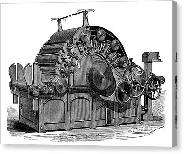 1874 Canvas Print - Carding Machine by Science Photo Library