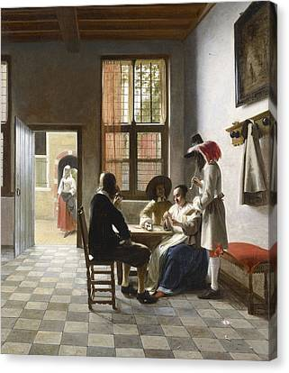 Cardplayers In A Sunlit Room Canvas Print