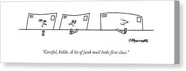 Woman Drinking Canvas Print - Careful, Kiddo. A Lot Of Junk Mail Looks First by Charles Barsotti