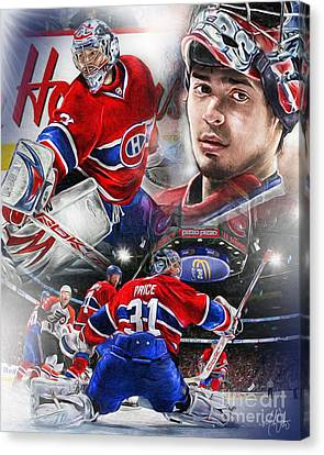 Goalie Canvas Print - Carey Price by Mike Oulton