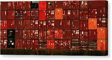 Cargo Containers Port Of Seattle Canvas Print by David Gilbert