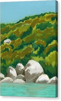 Caribbean Anchorage Canvas Print by Diane Cutter