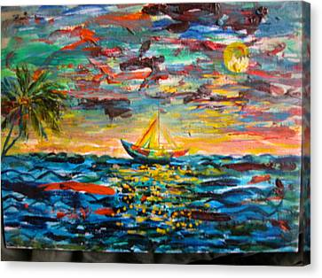 Canvas Print featuring the painting Caribbean Landscape by Egidio Graziani