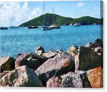 Caribbean - Rocky Shore St. Thomas Canvas Print by Susan Savad