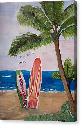Caribbean Strand With Surf Boards  Canvas Print by M Bleichner