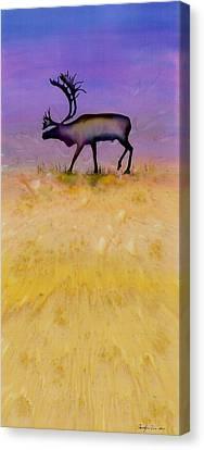 Caribou On The Tundra 2 Canvas Print by Carolyn Doe