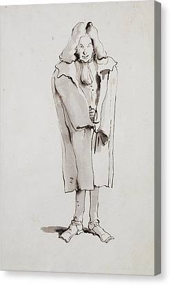 Caricature Of A Man Wearing An Overcoat Giovanni Battista Canvas Print