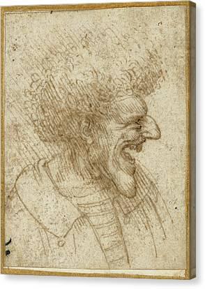 Caricature Of A Man With Bushy Hair Leonardo Da Vinci Canvas Print