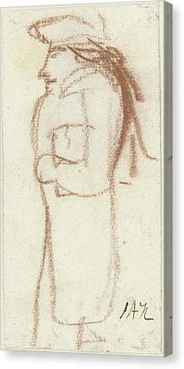 Caricature Of Standing Man, Left, Seen From The Side Canvas Print