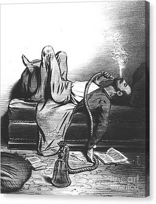 Caricature Of The Romantic Writer Searching His Inspiration In The Hashish Canvas Print by French School