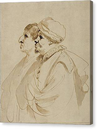 Caricature Of Two Men Seen In Profile Guercino Giovanni Canvas Print