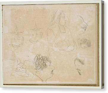 Caricature Sketches Edgar Degas, French Canvas Print by Litz Collection