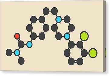 Bipolar Canvas Print - Cariprazine Antipsychotic Drug Molecule by Molekuul