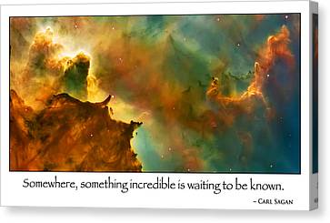 Carl Sagan Quote And Carina Nebula 2 Canvas Print by Jennifer Rondinelli Reilly - Fine Art Photography